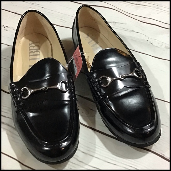 Women/'s Sam /& Libby Black Patened Leather Loafers Tayden